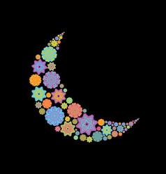 crescent arab pattern for eid mubarak ramadan vector image