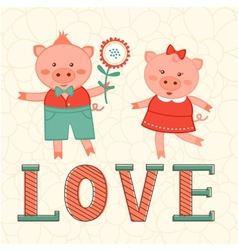 Cute card with two pigs in love vector image vector image