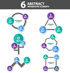 6 abstract infographic elements flat design set vector