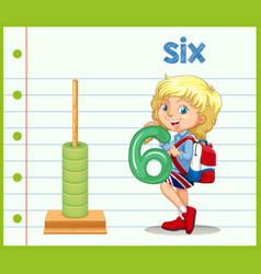 a girl holding number six vector image