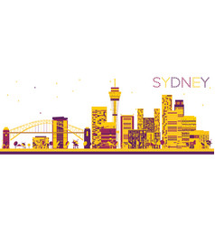 Abstract sydney skyline with color buildings vector