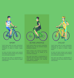 Active lifestyle sport cyclist colorful poster vector
