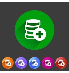 Add money coins wallet icon flat web sign symbol vector image