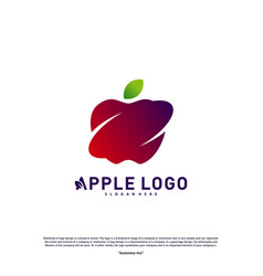 apple swoosh logo design concept fruit apple vector image