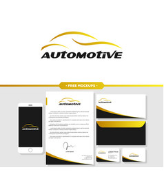 automotive car logo branding with stationery vector image