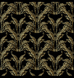 baroque gold embroidery seamless pattern vector image
