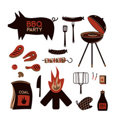 Bbq grill meat barbecue restaurant party at home vector