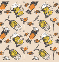 beer seamless pattern oktoberfest festival holiday vector image