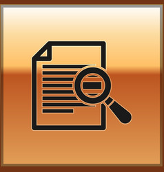 Black document with search icon isolated on gold vector