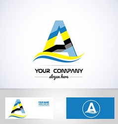 Blue yellow letter a logo vector