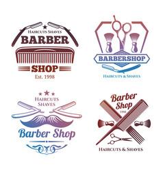 Bright barber shop emblems - men haircute salon vector