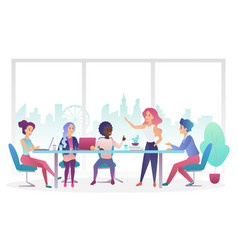 Business meeting office room flat vector