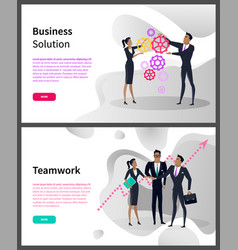 business solution and teamwork online web pages vector image