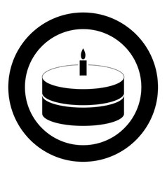 cake with candle icon black color in circle or vector image