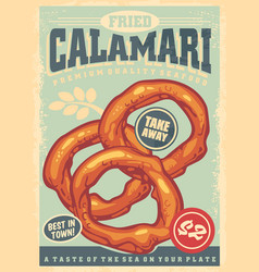 calamari vintage sign with bright blue background vector image