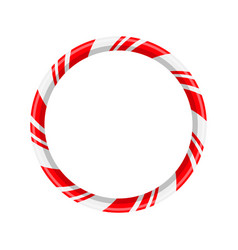 Candy cane circle frame for christmas design vector