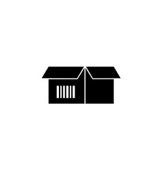 cardboard box with bar code flat icon vector image