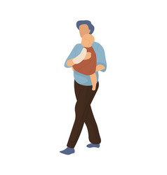 cartoon family walking man carries little child vector image