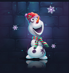 cartoon snowman brick wall vector image