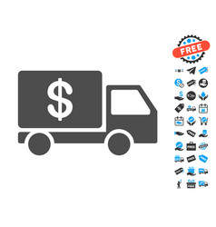 Cash delivery flat icon with free bonus elements vector
