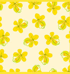 cassia fistula - golden shower flower on beige vector image