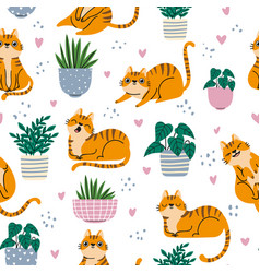 Cat seamless pattern red cats and plants in pots vector