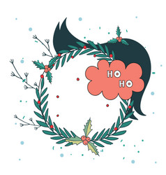 christmas wreath new year holiday celebration vector image