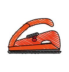 Color crayon stripe cartoon electric iron for vector