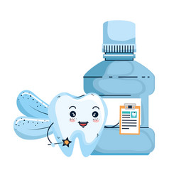 Comic tooth with mouthwash kawaii character vector