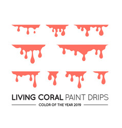 coral dripping paint set liquid drips paint flows vector image