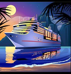 cruise ship under moonlight on sea vector image