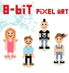 Cute 8-bit pixel character set casual people vector