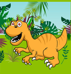 Cute dinosaur with tropical forest background vector