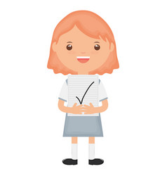 Cute little student girl with exam sheet vector