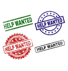 Damaged textured help wanted stamp seals vector