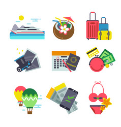 different icons of traveling summer holiday vector image