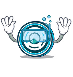 Diving aion coin character cartoon vector