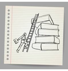 Doodle businessman with wooden ladder standing vector