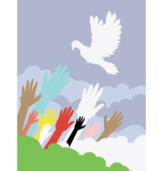 Dove and hands2 vector
