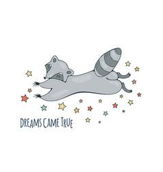 dreamy racoon vector image
