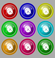 Drum icon sign symbol on nine round colourful vector
