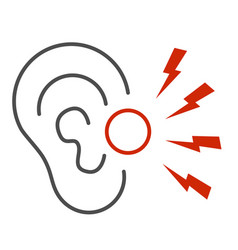Ear pain thin line icon illness and injury vector