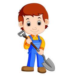 Farmer holding a shovel vector