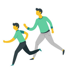 father and son running or jogging parent and child vector image