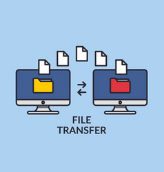 File transfer two computers with folders on the vector