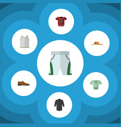 Flat clothes set of t-shirt uniform casual and vector