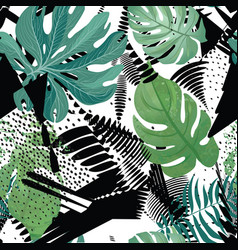 floral seamless pattern tropical leaves over vector image