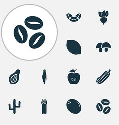 food icons set with coffee beans papaya citrus vector image