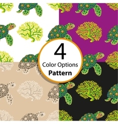 Four seamless pattern with tropical turtle vector