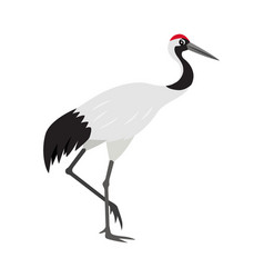 friendly cute red-crowned or japanese crane icon vector image